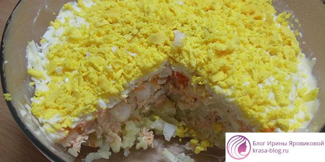 Салат «Мимоза», классический рецепт.Пошаговый,с сайрой,сыром